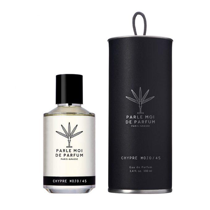 Flacon et coffret de parfum Chypre Mojo / 45 de parle Moi de Parfum